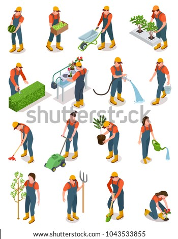 Isometric set of characters of gardeners, farmers and workers caring for the garden, growing agricultural products. Gardening character isolated on white background, vector illustration