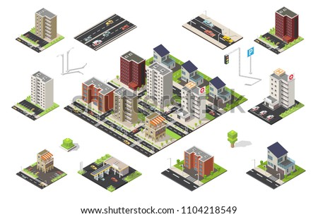 isometric set of city cityscape