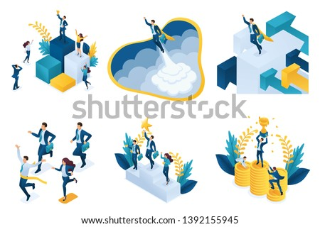 Isometric set of concepts on the topic of success, successful leader, goal achievement.
