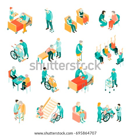 isometric set of elderly people