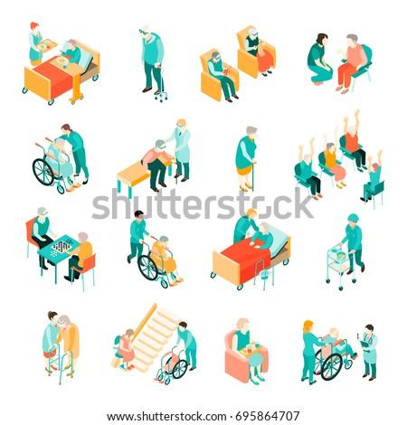 isometric set of elderly people