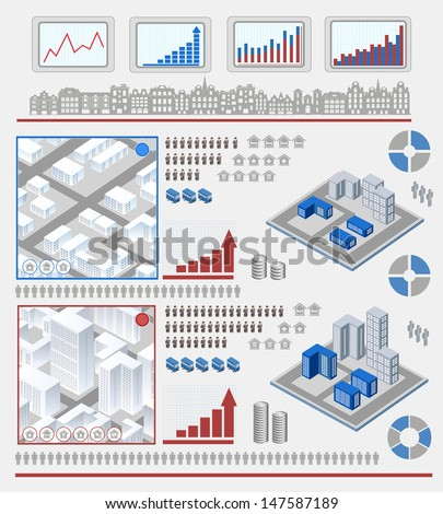 Isometric set of elements for info graphic
