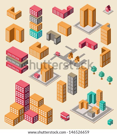 Isometric set of elements for info graphic on yellow