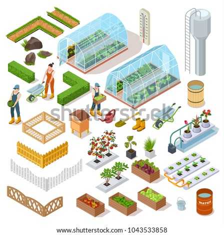 Isometric set of elements glass greenhouse, paths, wooden fence, hydroponics system. Farmers gardeners icons isolated on white background, vector illustration