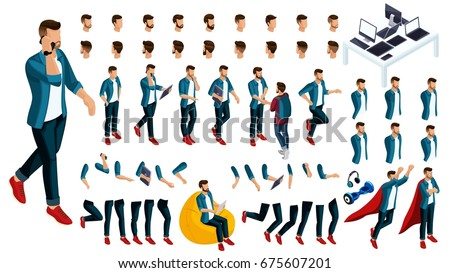 Isometric Set of gestures of hands and feet of a man 3d teenager, student, start-up, young businessman. Create your character for vector illustrations.