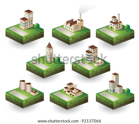 Isometric set of icons on an industrial theme. Urban homes, factories and warehouses in scenes of urban life with roads, trees and transport.