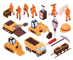 Isometric set of icons with mining machinery and miners isolated on white background 3d vector illustration