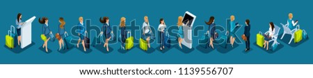 Isometric set of international airport icons, passengers, business lady with luggage on a business trip, transit zone, air line.
