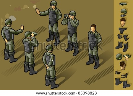 isometric set of military people standing in some position