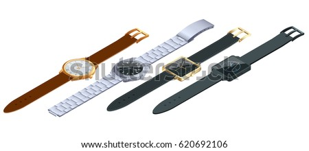 Isometric set of of wristwatches isolated on white background. Time on wrist watch concept. Flat 3d vector illustration.