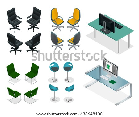 isometric office furniture vector collection. isometric set of office chairs and tables easy vip furniture on a white background vector collection t