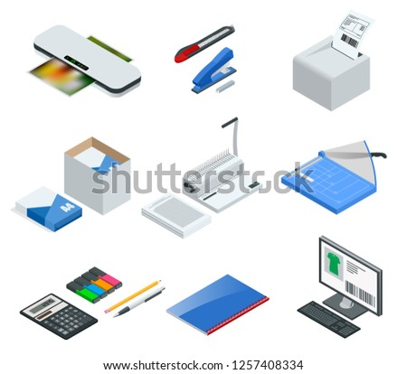 Isometric set of office tools. Vector icons illustration stapler, laminator, binder, office knife, multifunctional office printer, office cutter