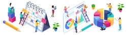 Isometric set of people and business icons on a white background. People in the process of work, teamwork, planning, business strategies, beginning entrepreneurs.