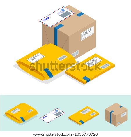Isometric set of Post Office, attributes of postal service, point of correspondence delivery icons. Postal services icon