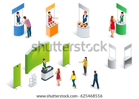 Isometric set of Promotion Stands on a white background. Vector exhibition or trade show booth