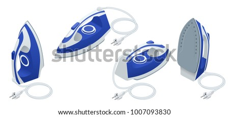 Isometric set of steam iron isolated on white background.