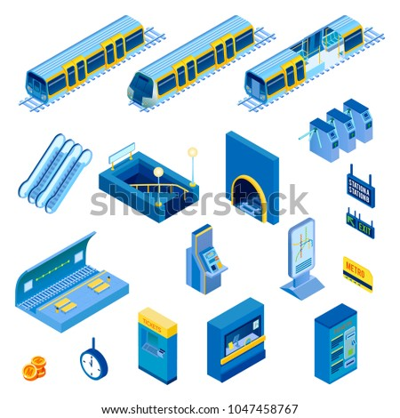 Isometric set of various underground metro station elements with escalator tunnel train turnstile isolated on white background 3d vector illustration