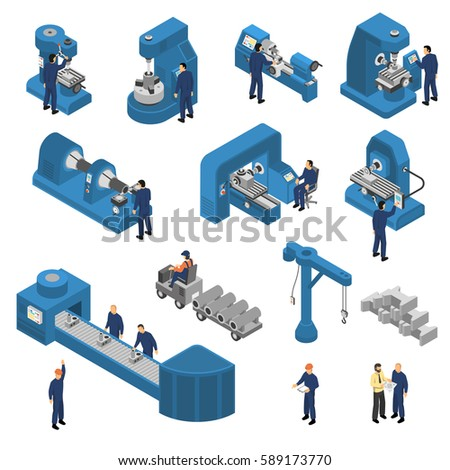 Isometric set of workers near machine tools with computer technologies including crane and loader isolated vector illustration