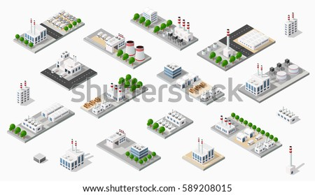 Isometric set plant dimensional projection includes factories, industrial buildings, boilers, warehouses, hangars, power stations, streets, roads, trees. Urban infrastructure of city metropolis.