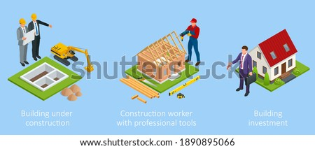 Isometric set stage-by-stage construction of a brick house. House building process. House construction phases