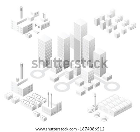 isometric set white city with