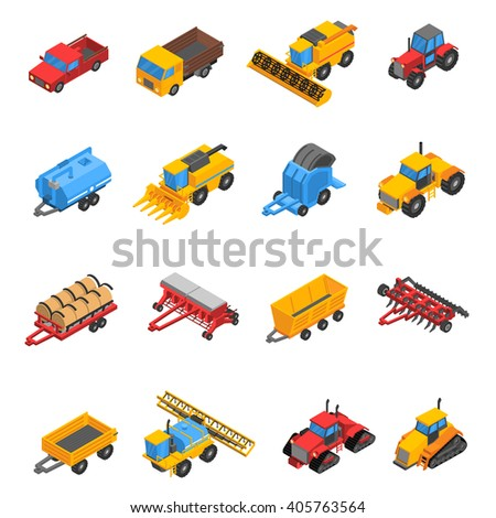 Isometric set with decorative colored isolated icons of agricultural machines and equipment vector illustration