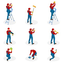Isometric set with Home repair workers doing maintenance, industrial contractors workers people. Isolated over white background