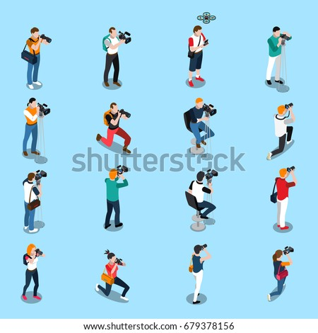 Isometric set with photographers and cameramen in various poses with equipment on blue background isolated vector illustration