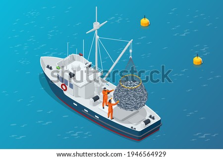 Isometric shipping seafood industry boat isolated on white background. Commercial ocean transportation Sea fishing, ship marine industry, fish boat. Fishing boat, fishing vessel.