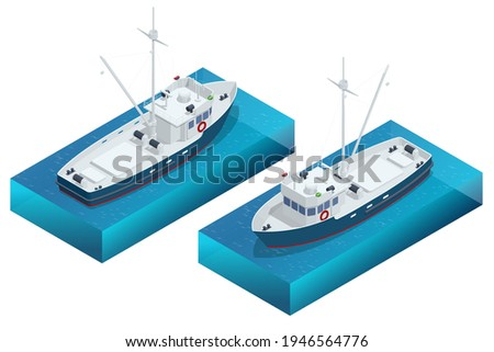 Isometric shipping seafood industry boat or Fishing schooner isolated on white background. Sea fishing, ship marine industry, fish boat. Fishing boat, fishing vessel.