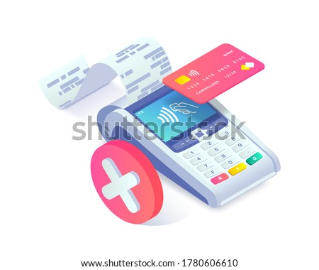 Isometric shopping, error contactless payments via smartphone concept. 3d payment terminal with red cross checkmark. Cashless NFC payment transaction canceled. Vector Flat payments machine.