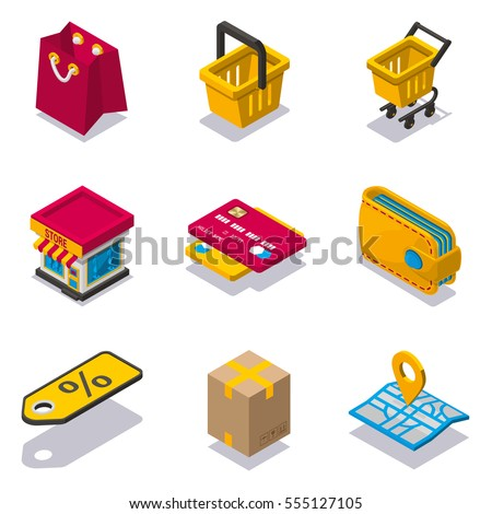 Isometric shopping icon set