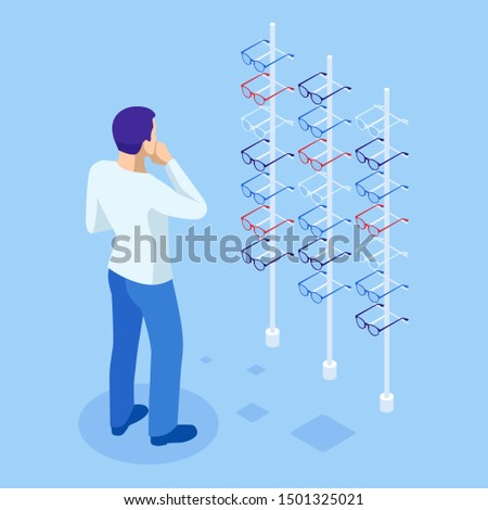 Isometric showcase with glasses in modern optic store. A man chooses glasses to improve vision in a store. Medical health equipment. Check eyesight for eyeglasses diopter.