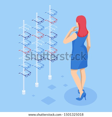 Isometric showcase with glasses in modern optic store. A woman chooses glasses to improve vision in a store. Medical health equipment. Check eyesight for eyeglasses diopter.