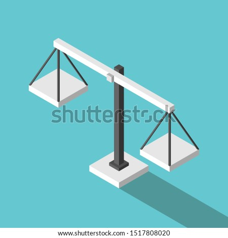 Isometric simple empty weight scales on turquoise blue background. Balance, comparison, justice, equilibrium and measure concept. Flat design. EPS 8 vector illustration, no transparency