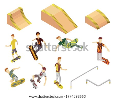 Isometric skatepark set with ramp and other equipment. Sporty mans riding on the skateboard. Modern youth leisure. Recreation playground vector illustration Stockfoto ©