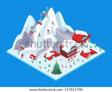 isometric ski resort with hotel