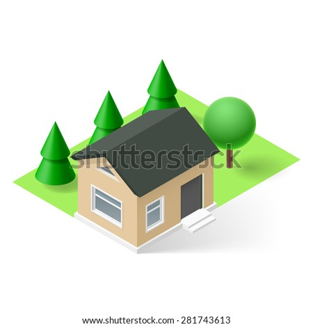 isometric small house with