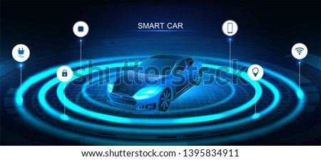 Isometric smart car banner. Electric machine. Autonomous car vehicle with infographic. Intelligent car banner. Futuristic isometric smart car and icons with machine benefits. Vector illustration