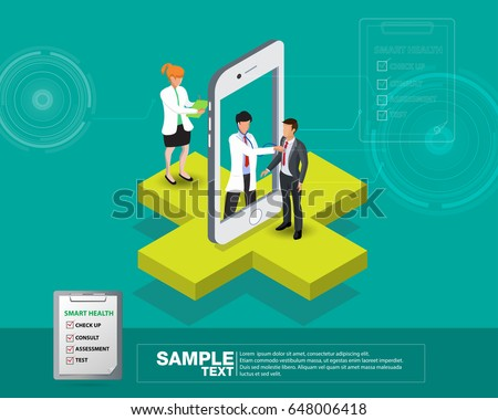 Isometric smart mobile health 3d design illustration - track your health condition through devices