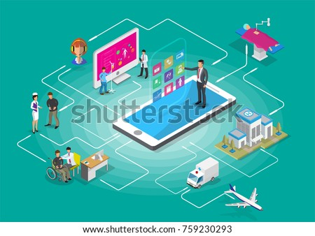 Isometric smart mobile health 3d design illustration - track your health condition through devices isolated on green background vector illustration.