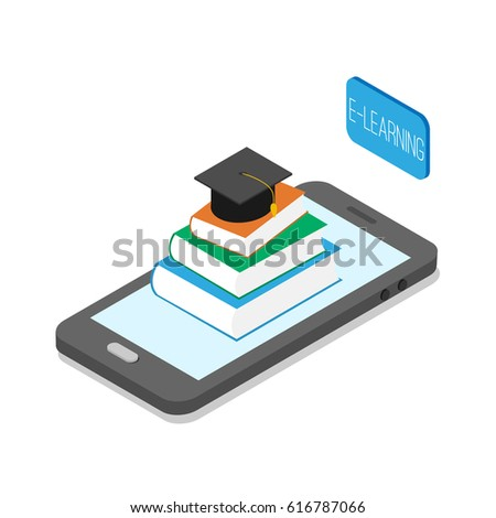 Isometric smart phone with books and academic cap on screen. E-learning concept.