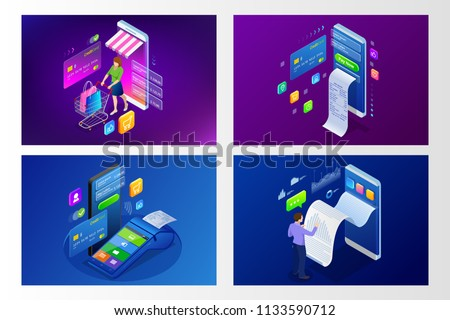 Isometric Smart smartphone online shopping concept. Smartphone turned into internet shop. Mobile marketing and e-commerce. Vector illustration
