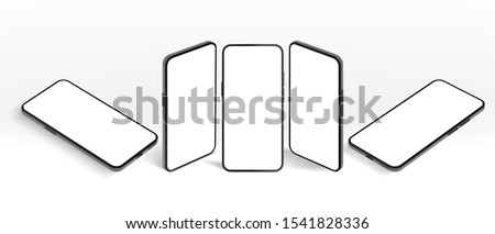 Isometric smartphone mockup. Black mobile phone, modern devices frame and frameless screen smartphones 3D vector template illustration set. Telephone new model perspective angles view
