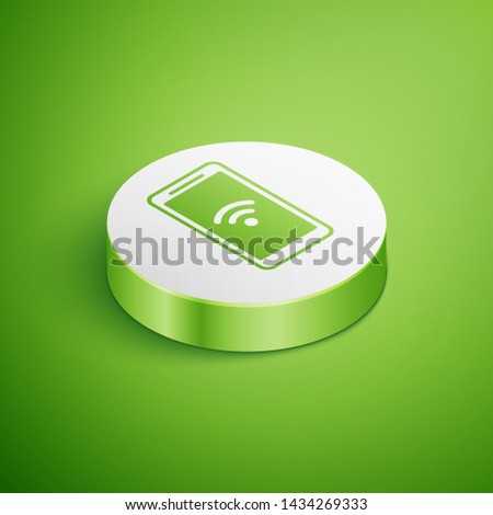 Isometric Smartphone with free wi-fi wireless connection icon isolated on green background. Wireless technology, wi-fi connection, wireless network. White circle button. Vector Illustration