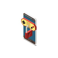 Isometric smartphone with game limit for children parental control icon vector illustration