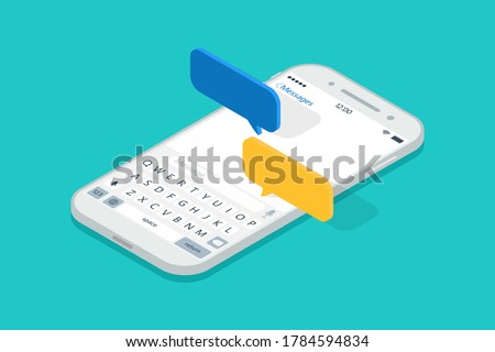 Isometric smartphone with messages chat. Push sms in cellphone. 3d notification in mobile screen. Speech bubble for social talk in phone. App for mail, support, online dialog and feedback. Vector. 商業照片 ©