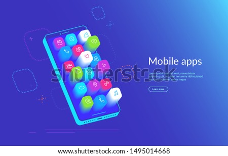Isometric smartphone with various applications flying out the screen. Mobile apps icons for social media, messages and calls, maps, weather and smart home. Gradient dynamic design for landing page