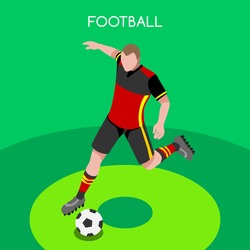 Isometric Soccer Football icon set. 3D Flat Isometric people Athlete Striker. Summer sport Championship Offensive  player Football Team Match Competition. events Soccer Sport Vector 3D Athlete Russia