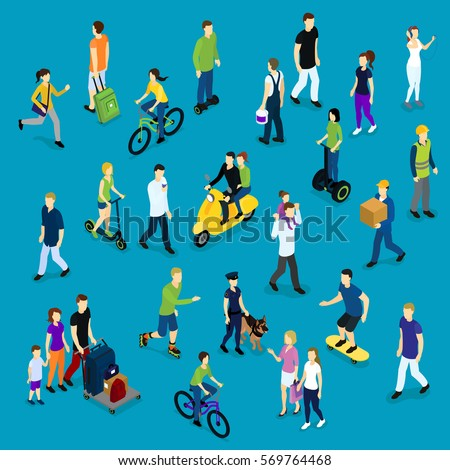 Isometric social crowd template with people of different ages and professions on blue background isolated vector illustration